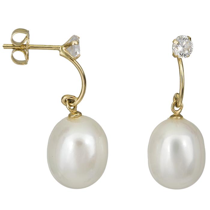 Χρυσά σκουλαρίκια με μαργαριτάρια και ζιργκόν 026778 026778 Χρυσός 14 Καράτια