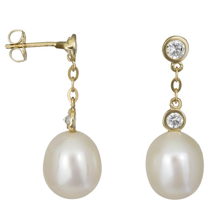 Χρυσά σκουλαρίκια με μαργαριτάρια και ζιργκόν 026779 026779 Χρυσός 14 Καράτια