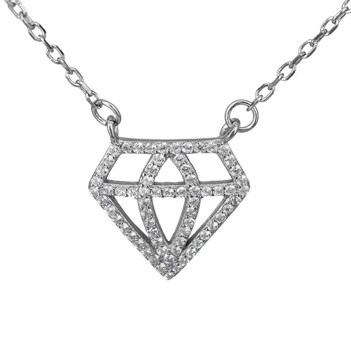 Ασημένιο κολιέ διαμάντι 925 026791 026791 Ασήμι