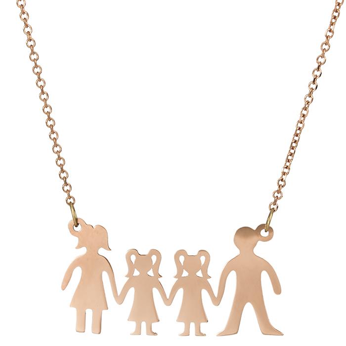 Ροζ gold κολιέ Κ14 4μελής οικογένεια 026809 026809 Χρυσός 14 Καράτια 87cdd6bbbe1