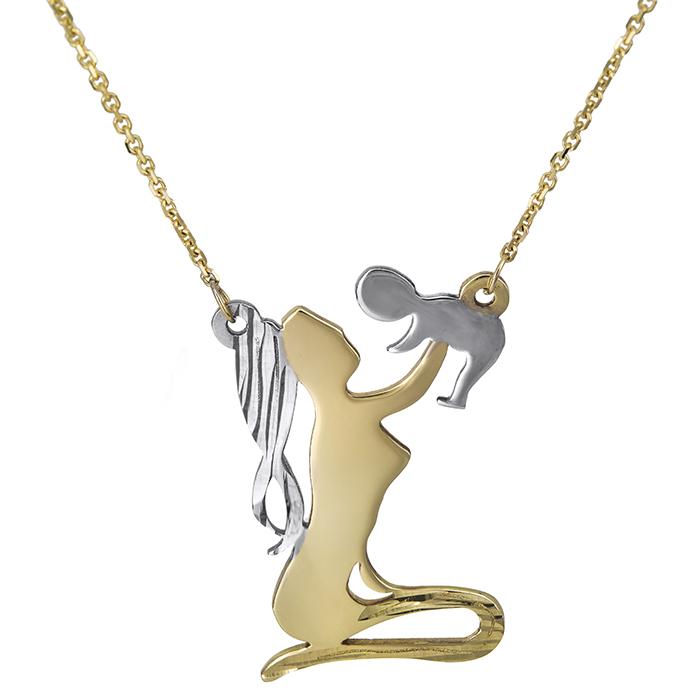 Χρυσό κολιέ K14 μαμά & μωρό 026813 026813 Χρυσός 14 Καράτια