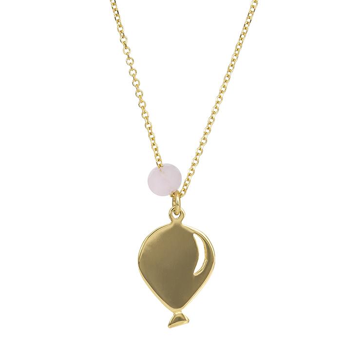 Χρυσό κολιέ Κ14 μπαλόνι με ροζ χάντρα 026814 026814 Χρυσός 14 Καράτια