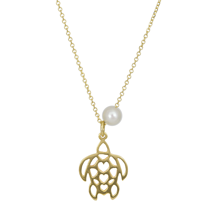 Χρυσό κολιέ Κ14 χελώνα με μαργαριτάρι 026815 026815 Χρυσός 14 Καράτια