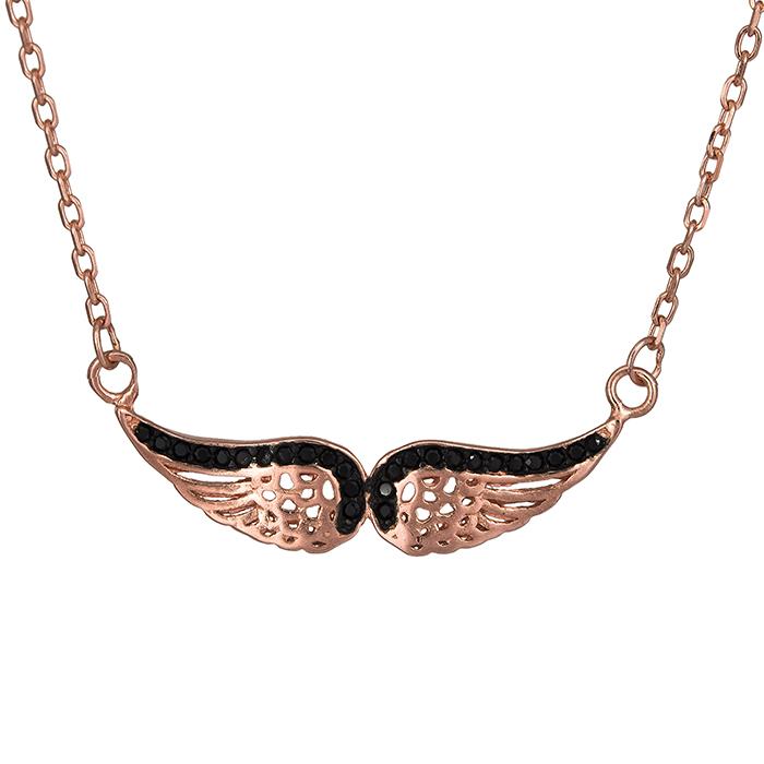 Επίχρυσο ροζ κολιέ 925 φτερά αγγέλου 026866 026866 Ασήμι