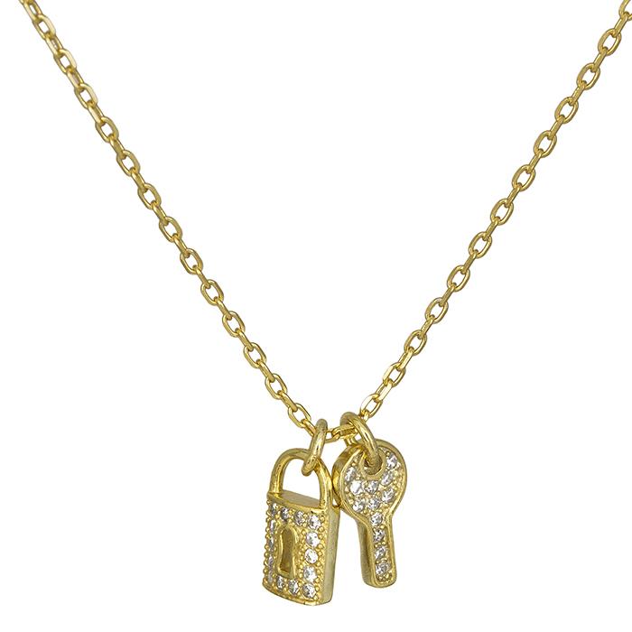 Επίχρυσο κολιέ 925 κλειδί & κλειδαριά 026881 026881 Ασήμι