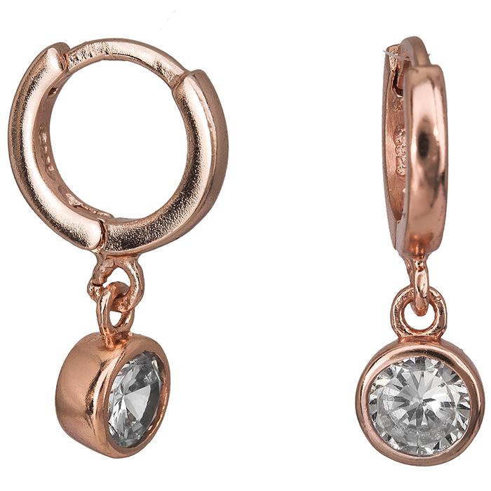 Σκουλαρίκια ροζ επιχρυσωμένα 925 με λευκή ζιργκόν 026895 026895 Ασήμι