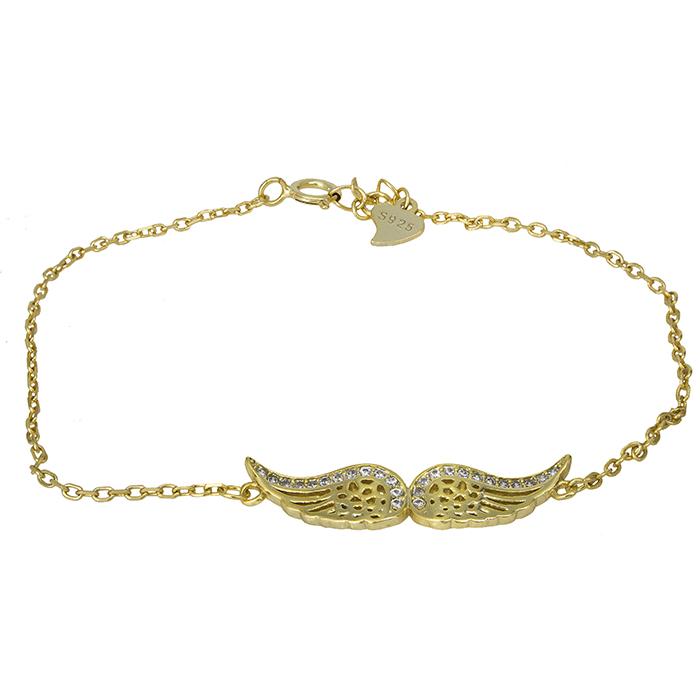 Γυναικείο επίχρυσο βραχιόλι 925 φτερά αγγέλου 026906 026906 Ασήμι