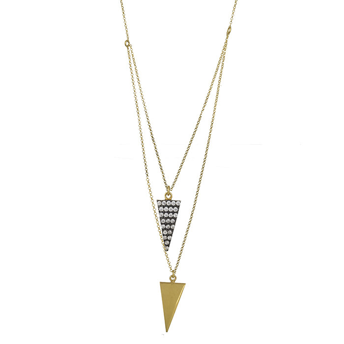 Επίχρυσο κολιέ 925 με τρίγωνα & ζιργκόν 026956 026956 Ασήμι