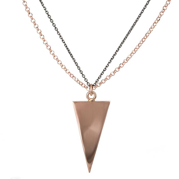 Επίχρυσο ροζ κολιέ 925 με τριγωνάκι 026958 026958 Ασήμι