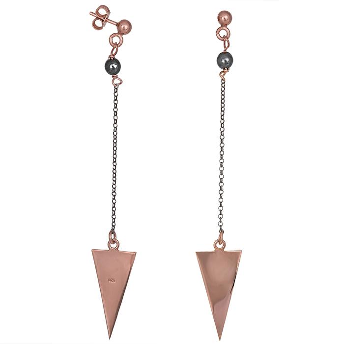 Σκουλαρίκια ροζ επιχρυσωμένα 925 με τρίγωνα 026960 026960 Ασήμι