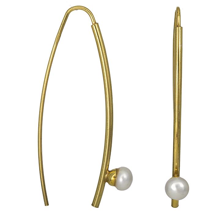 Επίχρυσα σκουλαρίκια 925 με μαργαριτάρια 026963 026963 Ασήμι