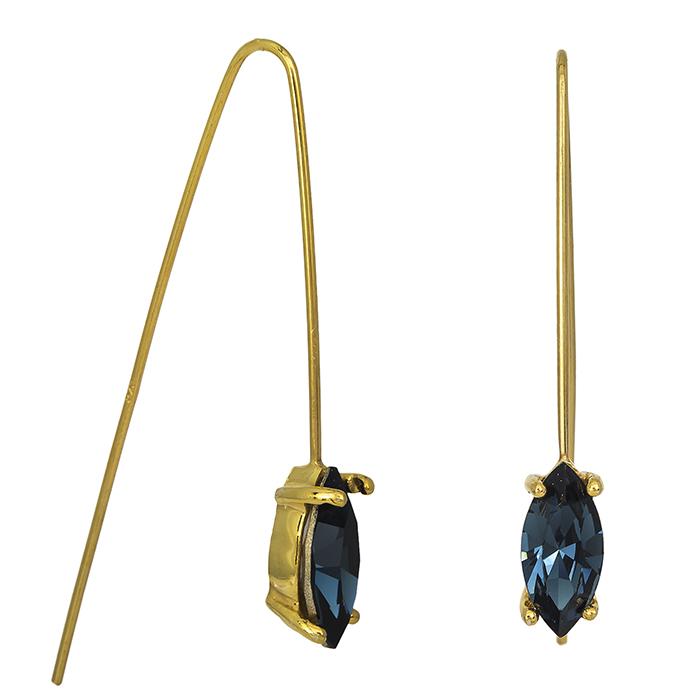 Επίχρυσα σκουλαρίκια 925 με μπλε ζιργκόν 026965 026965 Ασήμι