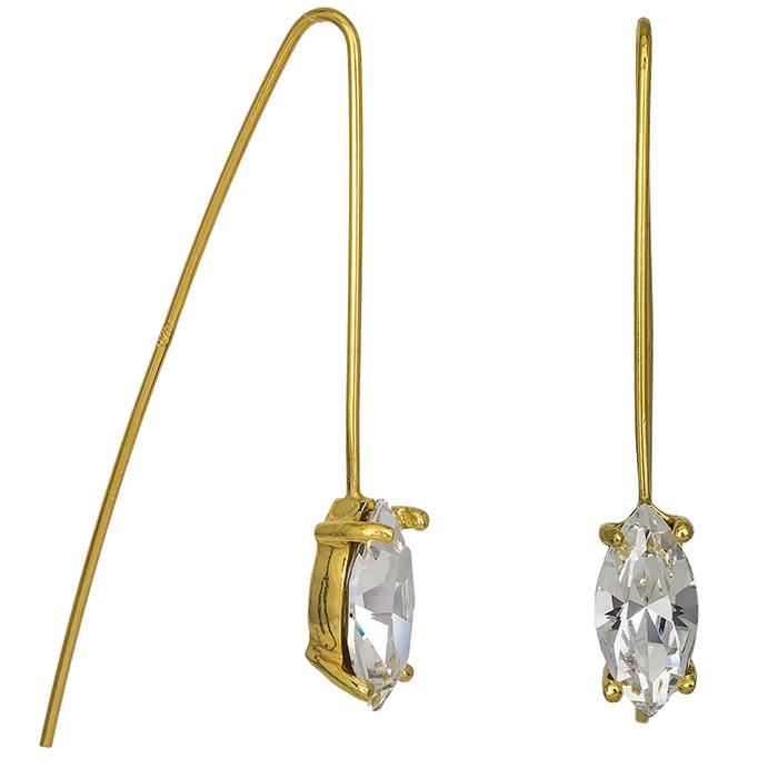 Επίχρυσα σκουλαρίκια 925 με λευκή ζιργκόν 026966 026966 Ασήμι