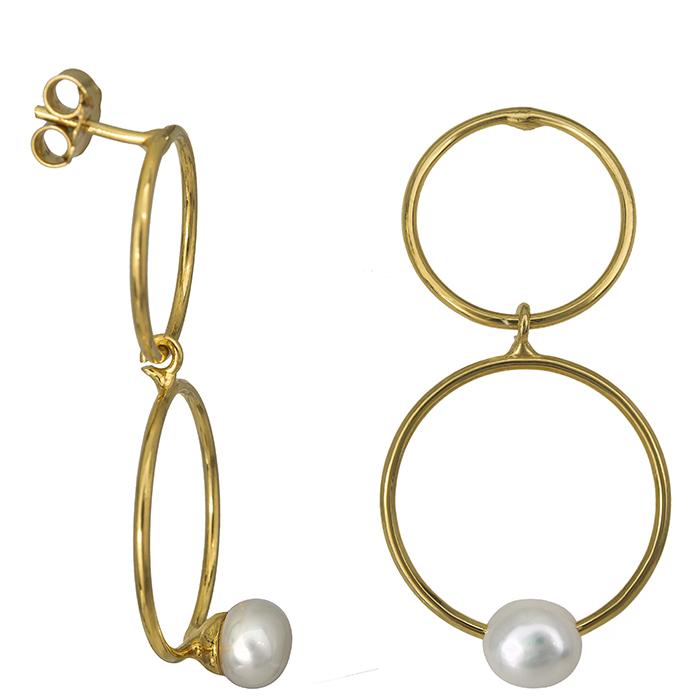 Επίχρυσα σκουλαρίκια 925 με μαργαριτάρια 026967 026967 Ασήμι