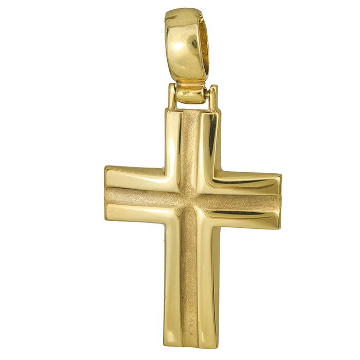 Σταυροί Βάπτισης - Αρραβώνα Χρυσός σταυρός Κ9 ματ λούκι 026799 026799 Ανδρικό Χρυσός 9 Καράτια