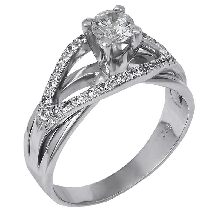 Λευκόχρυσο μονόπετρο με διαμάντια 18K 027002 027002 Χρυσός 18 Καράτια χρυσά κοσμήματα δαχτυλίδια μονόπετρα