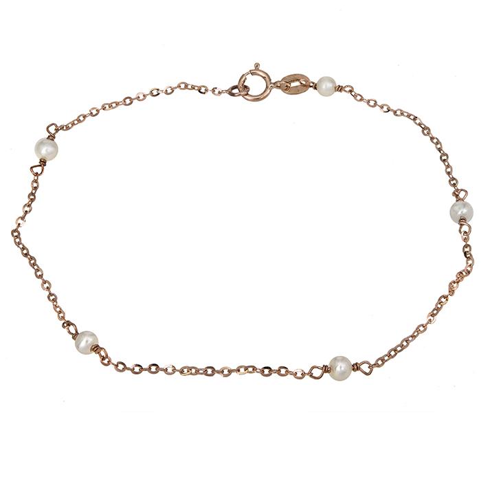 Γυναικείο ροζ gold βραχιόλι Κ14 με μαργαριτάρια 027003 027003 Χρυσός 14 Καράτια