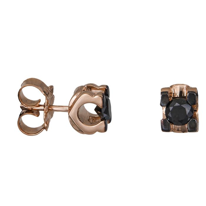 Γυναικεία σκουλαρίκια με μαύρα διαμάντια Κ18 027026 027026 Χρυσός 18 Καράτια χρυσά κοσμήματα σκουλαρίκια καρφωτά