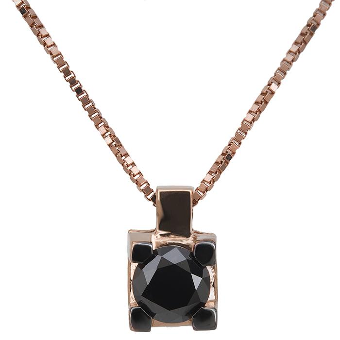 Γυναικείο κολιέ με μαύρο διαμάντι Κ18 027027 027027 Χρυσός 18 Καράτια