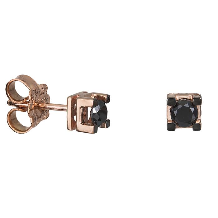 Ροζ gold σκουλαρίκια με μαύρα διαμάντια Κ18 027028 027028 Χρυσός 18 Καράτια