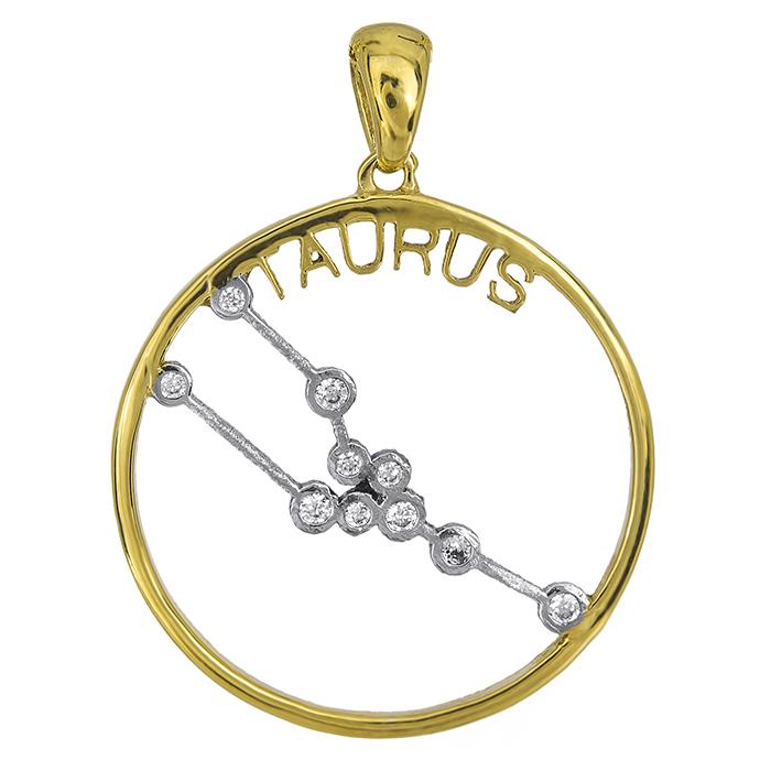 Δίχρωμο κρεμαστό Κ14 ζώδιο του Ταύρου 027032 027032 Χρυσός 14 Καράτια