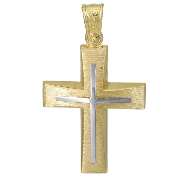 Σταυροί Βάπτισης - Αρραβώνα Αντρικός σταυρός Κ14 διπλής όψεως 027062 027062 Ανδρικό Χρυσός 14 Καράτια