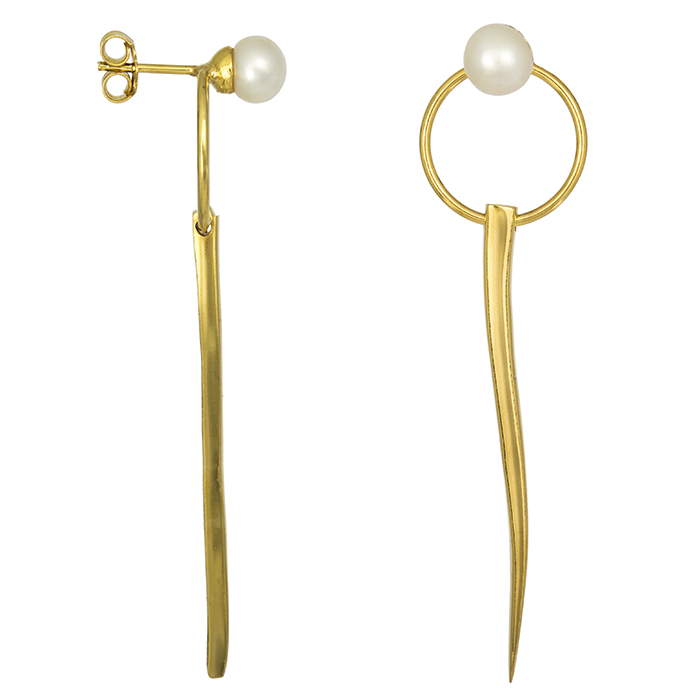 Επίχρυσα σκουλαρίκια 925 με μαργαριτάρι 027071 027071 Ασήμι