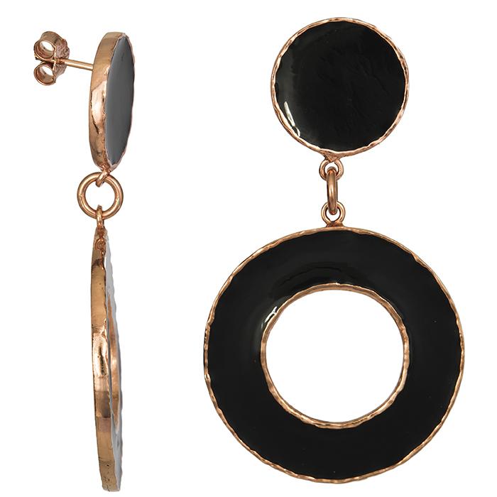 Σκουλαρίκια 925 με μαύρο σμάλτο 027074 027074 Ασήμι