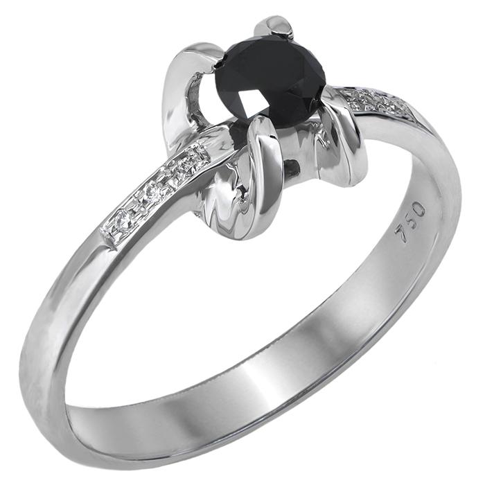 Λευκόχρυσο μονόπετρο με μαύρο διαμάντι 027459 027459 Χρυσός 18 Καράτια
