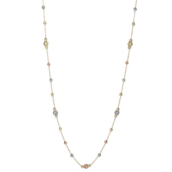Γυναικείο κολιέ Κ14 με ανάγλυφες μπίλιες 027106 027106 Χρυσός 14 Καράτια