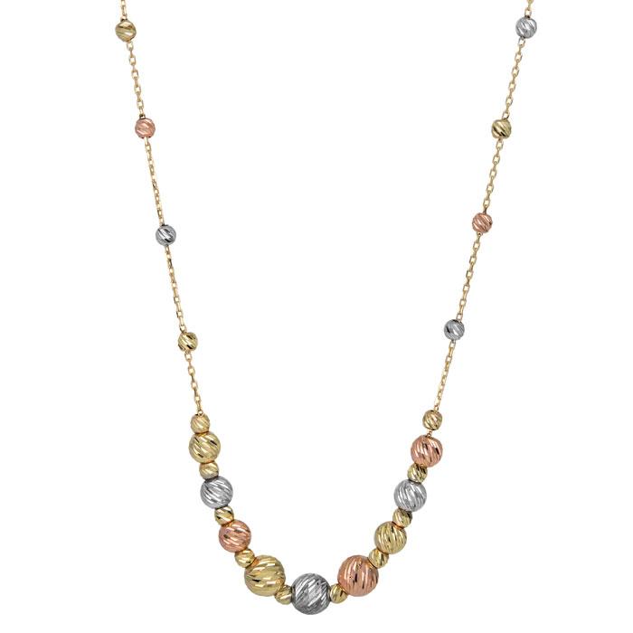 Γυναικείο κολιέ Κ14 με ανάγλυφες μπίλιες 027107 027107 Χρυσός 14 Καράτια
