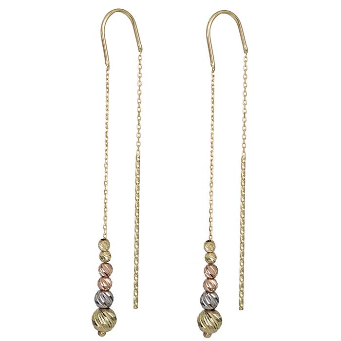 Σκουλαρίκια χρυσά Κ14 με ανάγλυφες χάντρες 027108 027108 Χρυσός 14 Καράτια