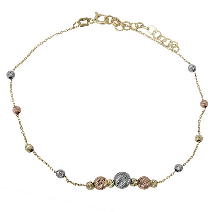 Βραχιόλι γυναικείο Κ14 με ανάγλυφες μπίλιες 027109 027109 Χρυσός 14 Καράτια