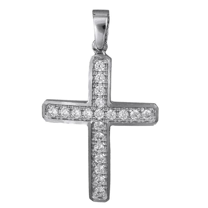Σταυροί Βάπτισης - Αρραβώνα Λευκόχρυσος σταυρός Κ9 με ζιργκόν 027114 027114 Γυναικείο Χρυσός 9 Καράτια