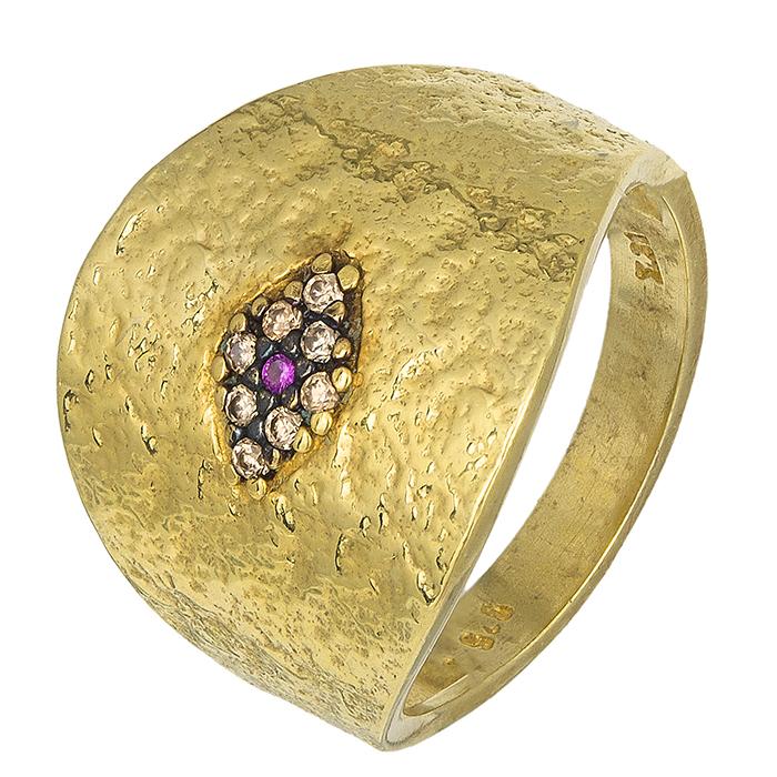 Επίχρυσο δαχτυλίδι 925 με ροζ ματάκι 027129 027129 Ασήμι ασημένια κοσμήματα δαχτυλίδια