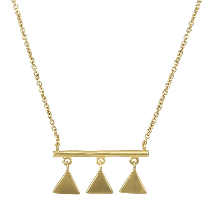Επίχρυσο κολιέ 925 μπάρα με τριγωνάκια 027148 027148 Ασήμι