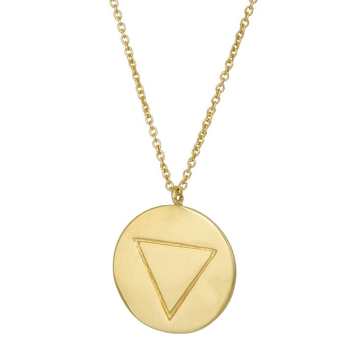 Επίχρυσο κολιέ 925 πλακέτα με τρίγωνο 027150 027150 Ασήμι