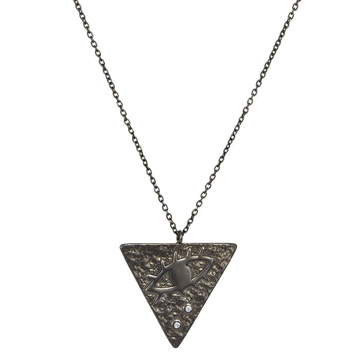 Μαύρο κολιέ 925 τρίγωνη πλακέτα με ζιργκόν 027152 027152 Ασήμι