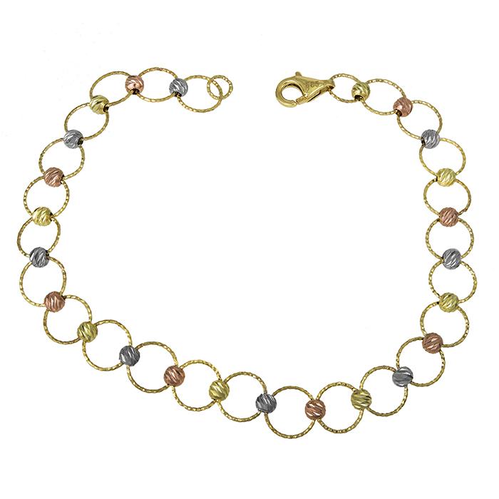 Χρυσό βραχιόλι Κ14 με ανάγλυφες μπιλίτσες 027155 027155 Χρυσός 14 Καράτια