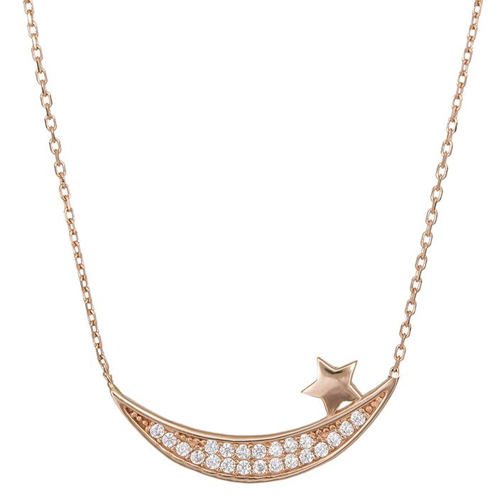 Ροζ gold κολιέ Κ14 μπάρα με αστέρι 027158 027158 Χρυσός 14 Καράτια