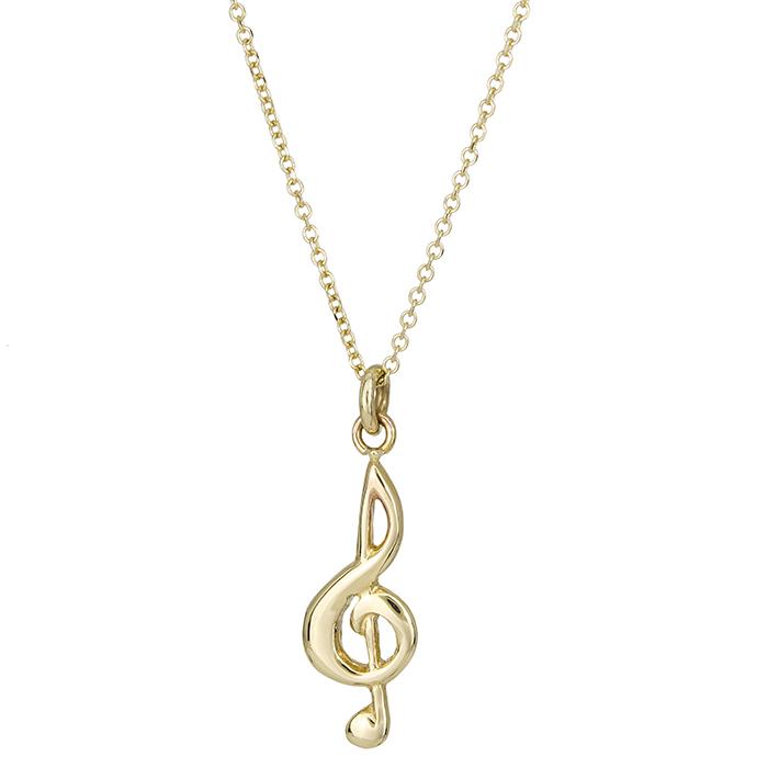 Χρυσό γυναικείο κολιέ Κ14 κλειδί του σολ 027166 027166 Χρυσός 14 Καράτια