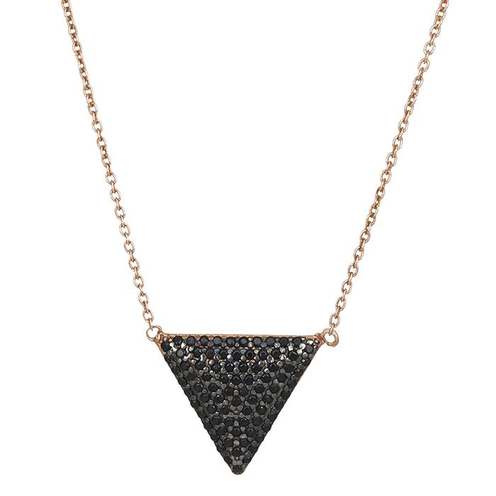 Ροζ κολιέ 925 τριγωνάκι με μαύρες ζιργκόν 027172 027172 Ασήμι