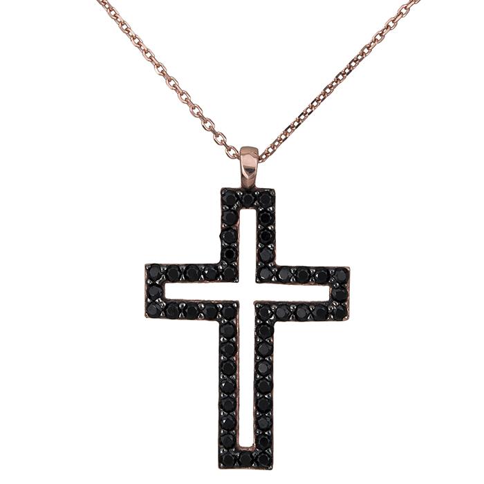 Ροζ gold κολιέ Swarovski Κ14 με μαύρο σταυρουδάκι 027183 027183 Χρυσός 14 Καράτια