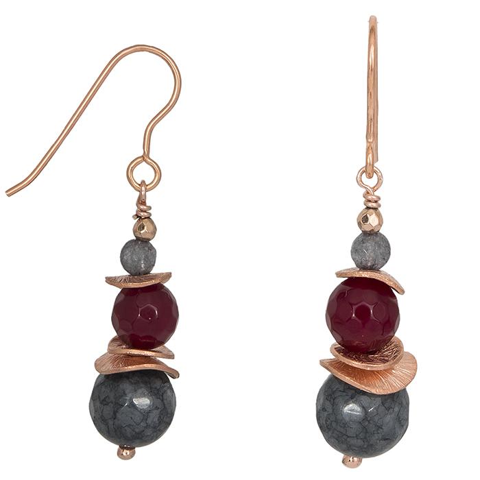 Ροζ επίχρυσα σκουλαρίκια 925 με ορυκτές πέτρες 027197 027197 Ασήμι