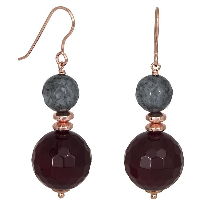 Ροζ επίχρυσα σκουλαρίκια 925 με ορυκτές πέτρες 027199 027199 Ασήμι