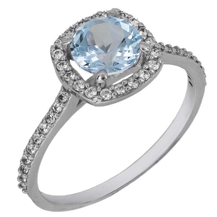 Λευκόχρυσο Swarovski δαχτυλίδι Κ14 γαλάζια ροζέτα 027200 027200 Χρυσός 14 Καράτια