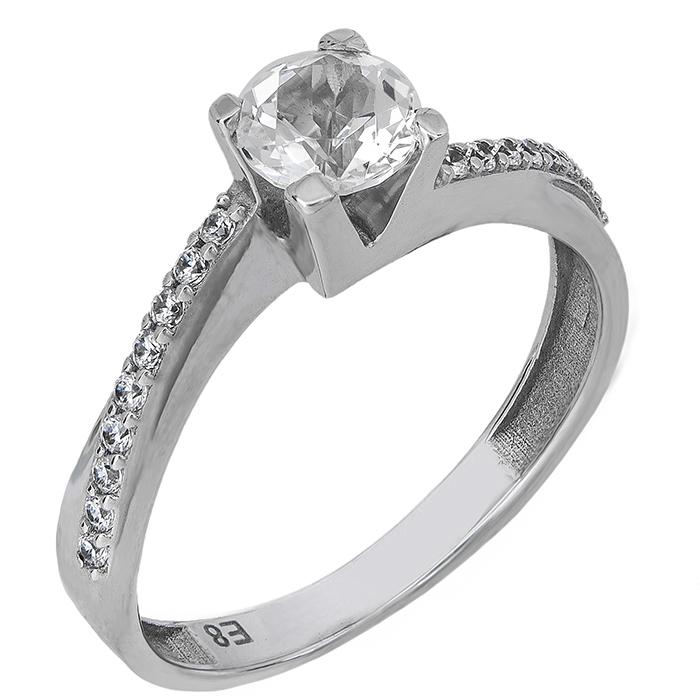 Μονόπετρο δαχτυλίδι Swarovski Κ14 με λευκή τοπάζ 027205 027205 Χρυσός 14 Καράτια