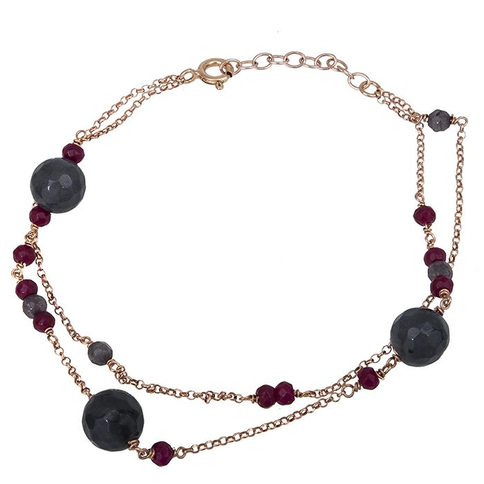Βραχιόλι ροζ επίχρυσο 925 με πέτρες αχάτη 027206 027206 Ασήμι
