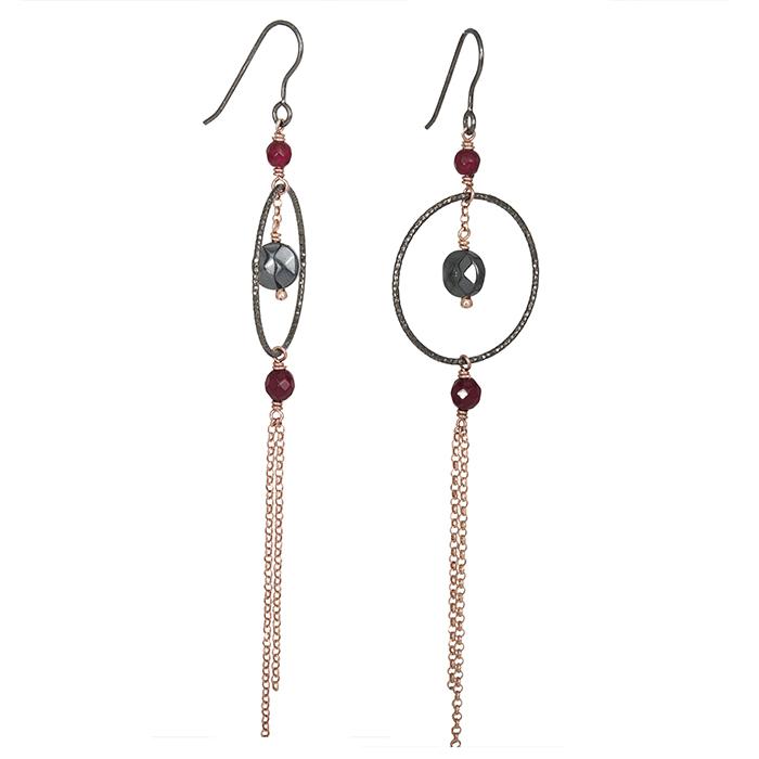 Κρεμαστά γυναικεία σκουλαρίκια 925 με ορυκτές πέτρες 027210 027210 Ασήμι