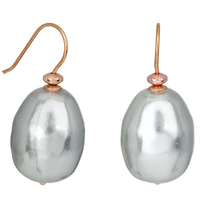 Ροζ επίχρυσα σκουλαρίκια 925 με γκρι μαργαριτάρια 027218 027218 Ασήμι